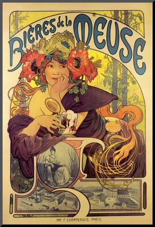 Bieres de la Meuse Mounted Print by Alphonse Mucha