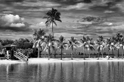 Paradisiacal Beach overlooking Downtown Miami - Florida Photographic Print by Philippe Hugonnard