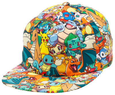 Pokemon merchandise sublimated cap of all Pokemon characters lineup