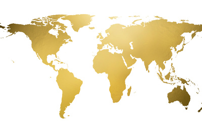 Gold World Map (gold foil) 高画質プリント