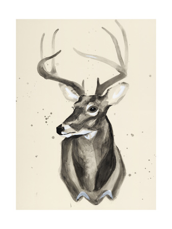 Watercolor Deer Head 3 Giclee Print by Ben Gordon