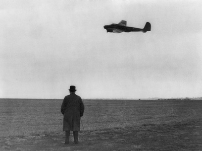 Winston Churchill, Photographed from Behind, Watching B-17 'Flying Fortress' in Flight, July 1940 Photo