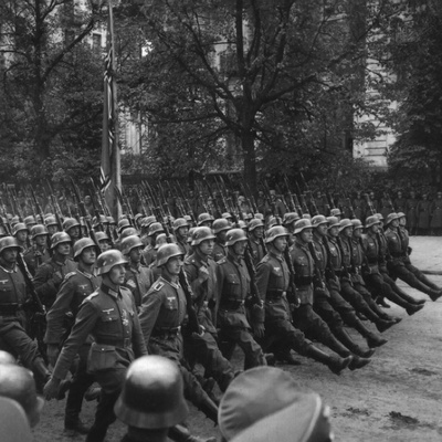 Goose-Stepping German Troops in a Victory Parade Through Warsaw, Poland. Sept. 1939 Photo