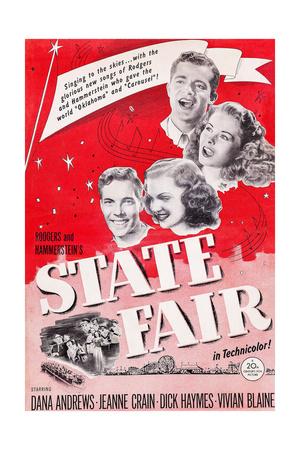 State Fair, from Top: Dana Andrews, Jeanne Crain, Vivian Blaine, Dick Haymes, 1945 Print