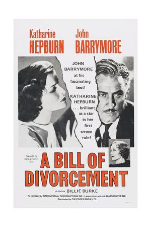 A Bill of Divorcement, from Left: Katharine Hepburn, John Barrymore, Billie Burke, 1932 Posters