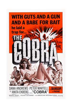 The Cobra, Dana Andrews, Anita Ekberg (Center), 1968 Poster