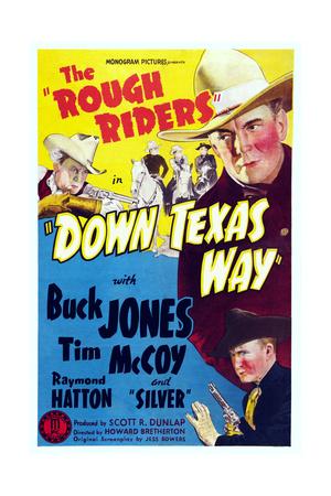 Down Texas Way, Top Left: Raymond Hatton; from Top Right: Buck Jones, Tim Mccoy, 1942 Print
