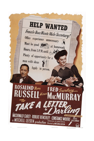 Take a Letter, Darling, from Left: Robert Benchley, Fred Macmurray, Rosalind Russell, 1942 Print