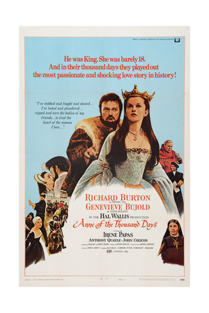 Anne of the Thousand Days, from Left, Richard Burton, Genevieve Bujold, Irene Papas, 1969 Poster