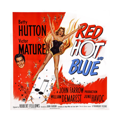 Red, Hot and Blue, from Left: Victor Mature, Betty Hutton, 1949 Posters