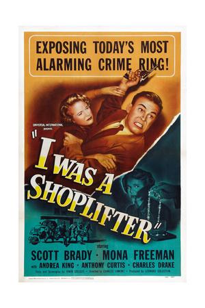 I Was a Shoplifter, from Left: Mona Freeman, Scott Brady, Mona Freeman, 1950 Poster