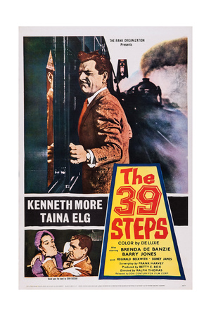 The 39 Steps, Kenneth More (Top), Bottom from Left: Taina Elg, Kenneth More, 1959 Poster