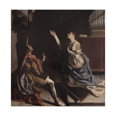 Martyrs Cecilia, Valerian and Tiburcio Visited by Angel Plakater af Orazio Gentileschi