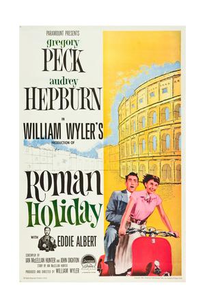 Roman Holiday, L-R: Eddie Albert, Gregory Peck, Audrey Hepburn, 1953 Posters