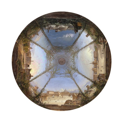 Table Top with Scene of Rome Prints by Michelangelo Barberi