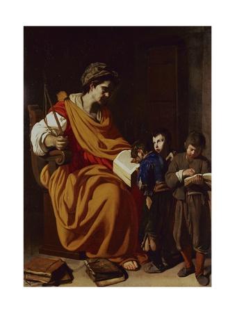 The School Mistress, Ca. 1630 Poster af Aniello Falcone