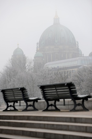 Empty Benches in Front of the Berlin Dome Photo