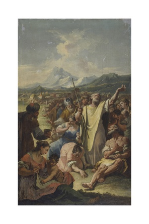 Moses Implores the Fall of Manna Poster by Francesco Fontebasso
