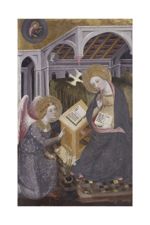 Annunciation, Angel Gabriel Kneeling to Mary Posters by Pedro Serra