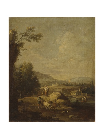 Landscape with Peasants and Cattle Posters by Giuseppe Zais