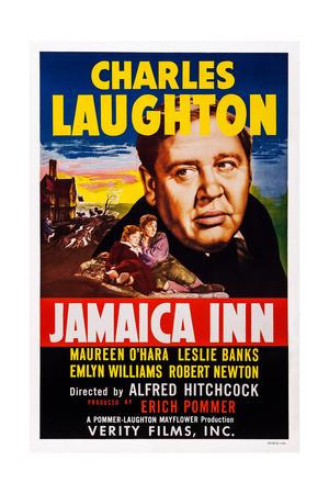 Jamaica Inn, from Front Left: Maureen O'Hara, Robert Newton, Charles Laughton, 1939 Print