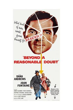 Beyond a Reasonable Doubt, Top: Dana Andrews; Bottom: Dana Andrews, Joan Fontaine, 1956 Art