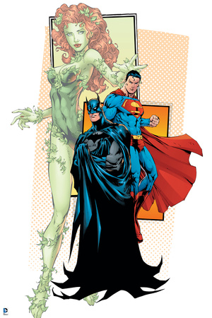 Batman and Superman and Poison Ivy and Justice League superhero comic book poster