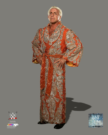 Ric Flair posing with his red and grey robe wrestling photo poster