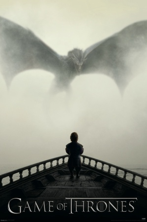 Tyrion approaching dragon on ship Season 5 poster - Game of Thrones