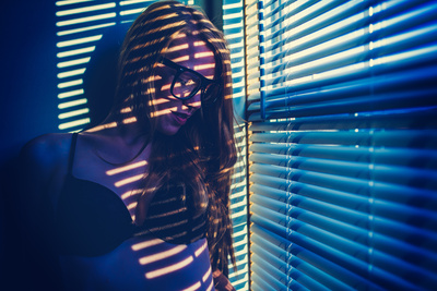 Surreal Photo with Crazy Colors of Sexy Girl in Hipster Glasses Photographic Print by Joshua Resnick