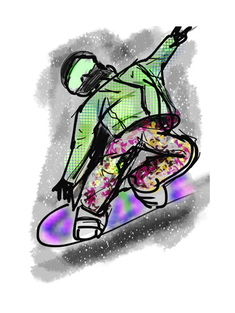 Hand Draw Snowboarding Posters by  jim80