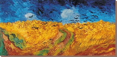 Korenveld met kraaien, ca. 1890 Kunst op gespannen canvas van Vincent van Gogh