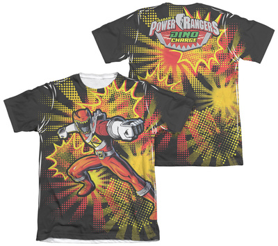 Power Rangers - Red Ranger Burst (Front - Back Print) T-shirts