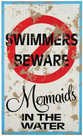 Mermaid Warning Tin Sign