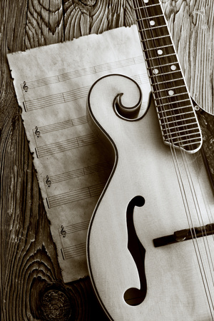 Mandolin with Music Sheet Photographic Print by MIGUEL GARCIA SAAVED