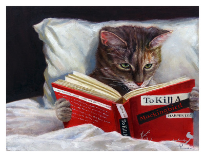 Cat reading To Kill A Mockingbird late at night in bed hyperrealism art print, cat funny picture