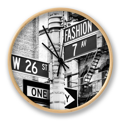 Signpost, Fashion Ave, Manhattan, New York City, United States, Black and White Photography Ur