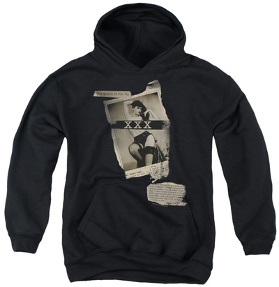 Youth Hoodie: Bettie Page - Newspaper & Lace Pullover Hoodie