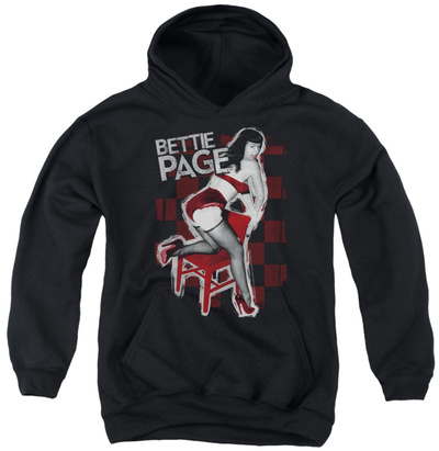Youth Hoodie: Bettie Page - Over A Chair Pullover Hoodie