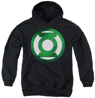Youth Hoodie: Green Lantern - Green Chrome Logo Pullover Hoodie
