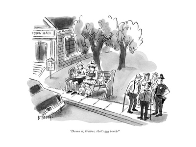 """Damn it, Wilbur, that's our bench!"" - New Yorker Cartoon Giclee Print by Barney Tobey"