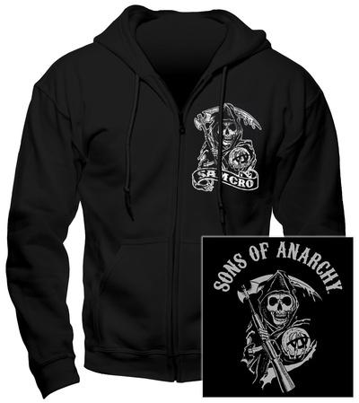 Hoodie: Sons Of Anarchy - Samcro (Front/Back) Felpa con cappuccio con chiusura a zip