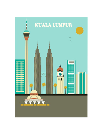 Kuala Lumpur. Vector Posters by  Ladoga