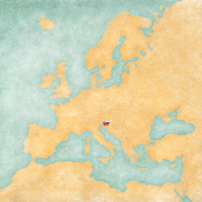 Map of Europe - Slovenia (Vintage Series) Posters by  Tindo