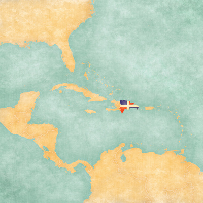 Map of Caribbean - Dominican Republic (Vintage Series) Art by  Tindo