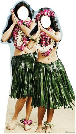 Hula Girls Stand In Cardboard Cutouts