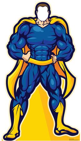 Super Hero In Blue Stand In Cardboard Cutouts