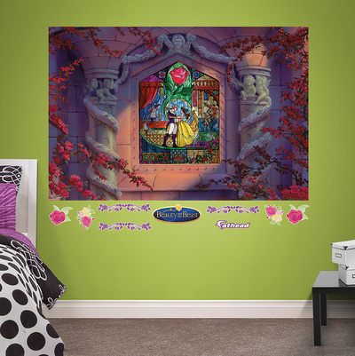 Beauty and the Beast Stained Glass Mural Wall Mural