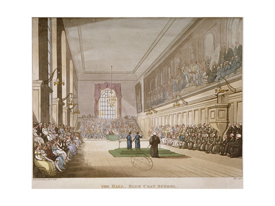 Interior View of the Hall of Christ's Hospital, with an Event Taking Place, City of London, 1808 Giclee Print by Augustus Charles Pugin