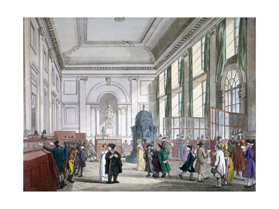 The Great Hall at Bank of England, City of London, 1809 Giclee Print by Augustus Charles Pugin